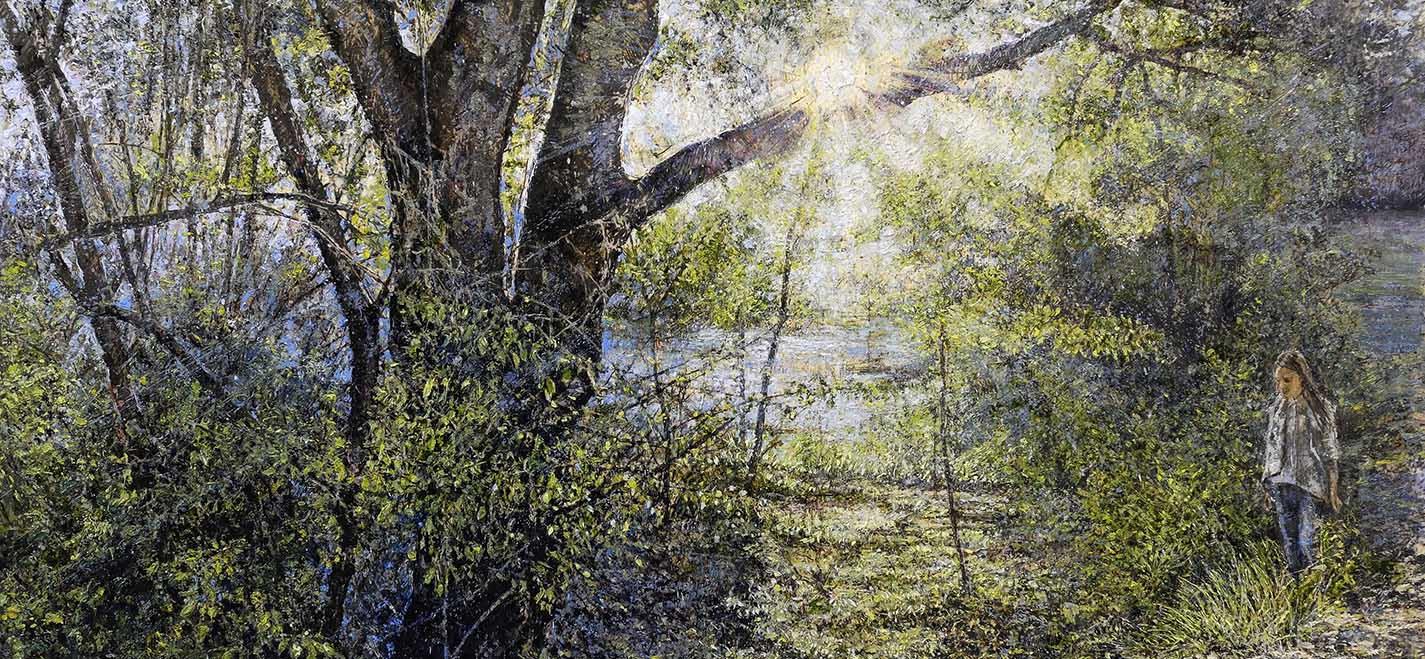 A576 Paesaggio con figura. Marta 2018 olio su tavola 100x150