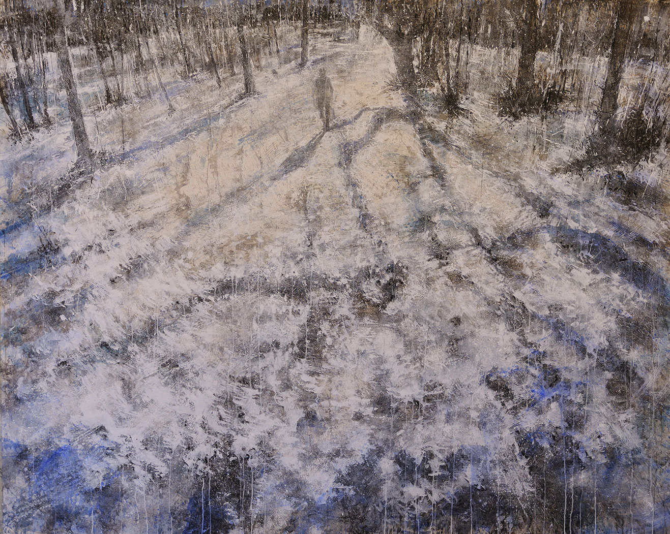 #1 Winterreise - 2020 grafite, fusaggine, pigmento, acrilico,olio, su carta 150x200