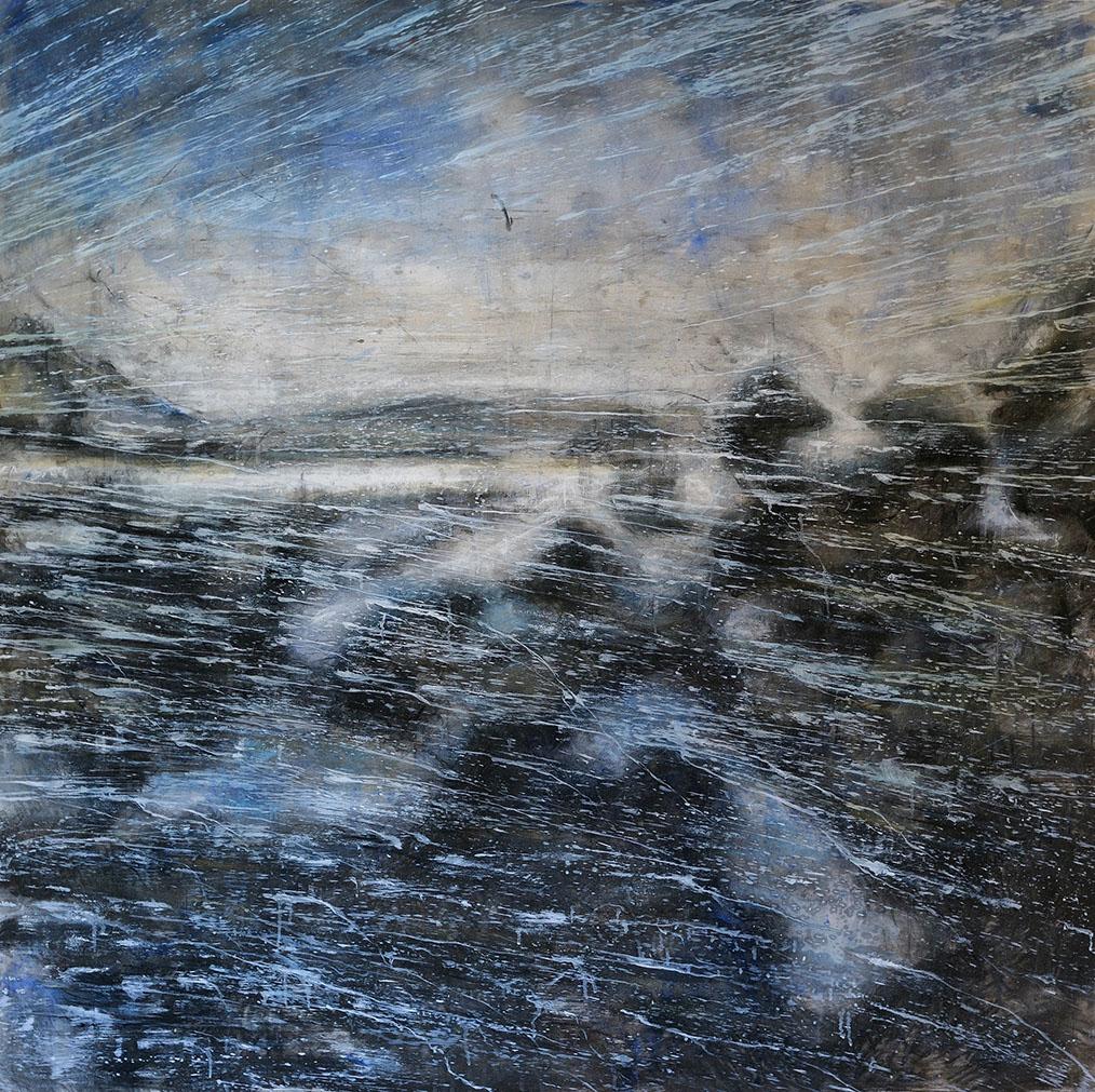 #4 Winterreise 2020 grafite, fusaggine, pigmento, acrilico,olio su carta 150x150